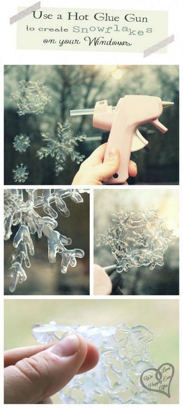 DIY Hot Glue Gun Snowflake Window Clings.