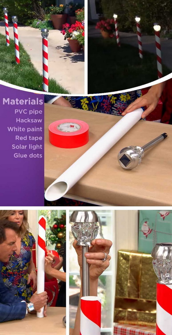 Candy Cane Solar Light. Get a pvc pipe, some red tape and a solar powered light, you can also make these festive solar candy canes to adore your garden path.