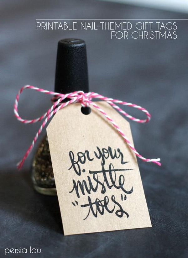 Christmas Neighbor Gift Ideas: Nail-Themed Gift With Free Pintable Tag