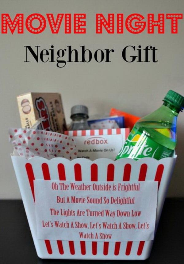 Christmas Neighbor Gift Ideas: Movie Night Neighbor Gifts