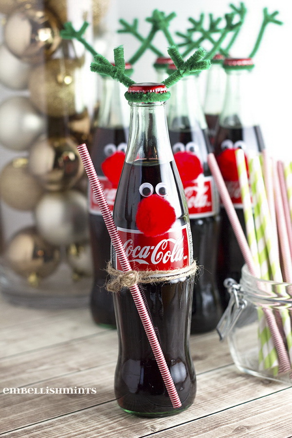 Christmas Neighbor Gift Ideas: Easy Coke Bottle Reindeer.
