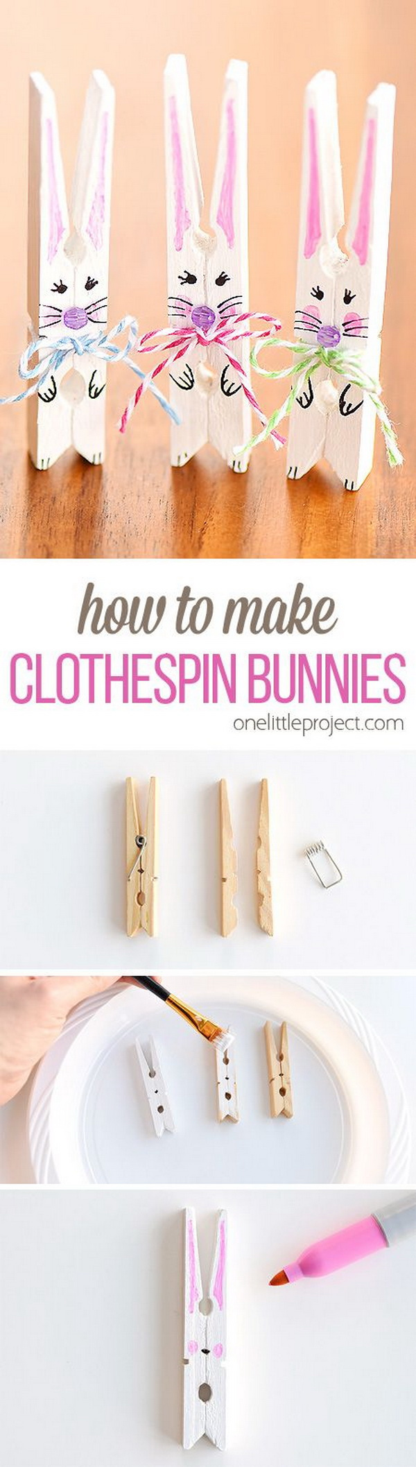 DIY Easter Decoration Ideas: DIY Clothespin Bunnies.