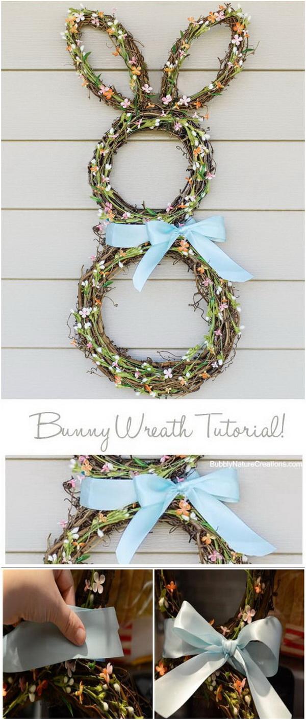 DIY Easter Decoration Ideas: Easter Bunny Wreath Tutorial.