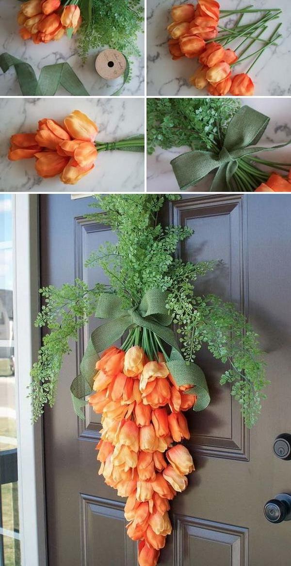 DIY Easter Decoration Ideas: Spring Carrot Door Hanger.