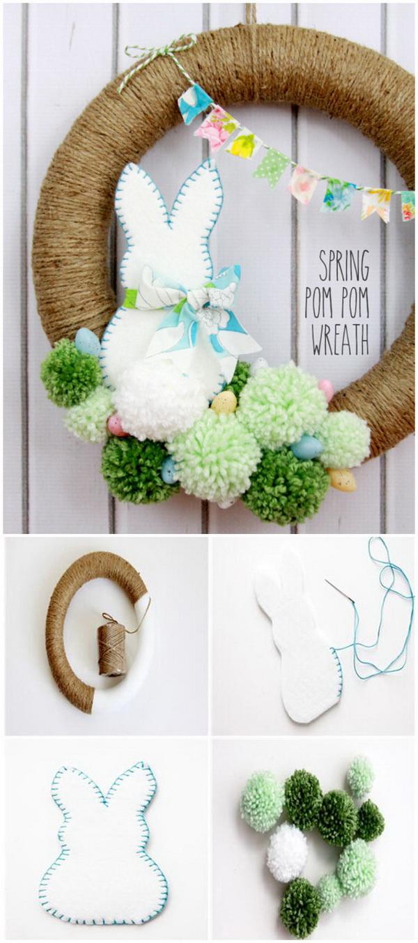 DIY Easter Decoration Ideas: Spring Pom Pom Wreath.