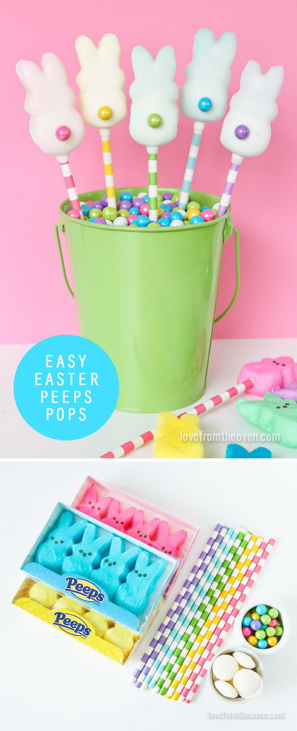 DIY Easter Decoration Ideas: Easter Peeps Pops.