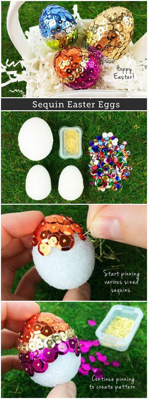 DIY Easter Decoration Ideas: Sparkly Sequins Easter Eggs.