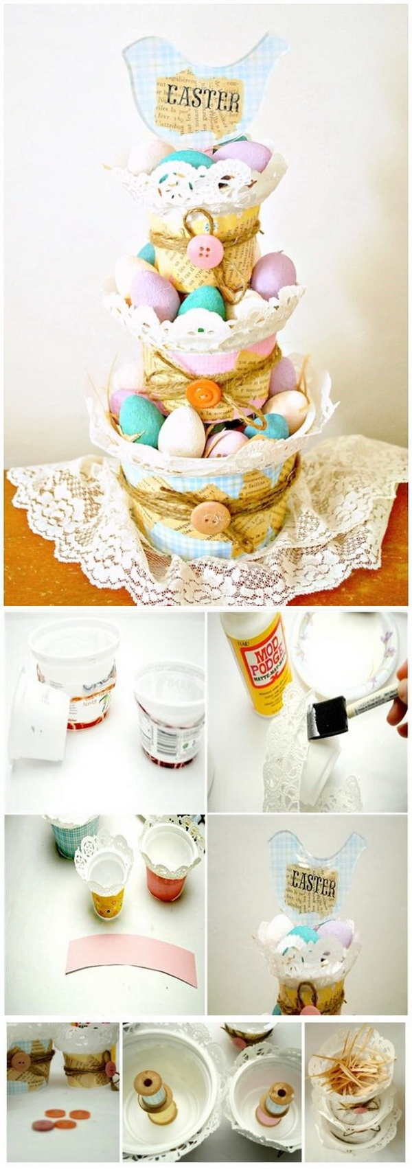 DIY Easter Decoration Ideas: Tiered Basket Easter Centerpiece.