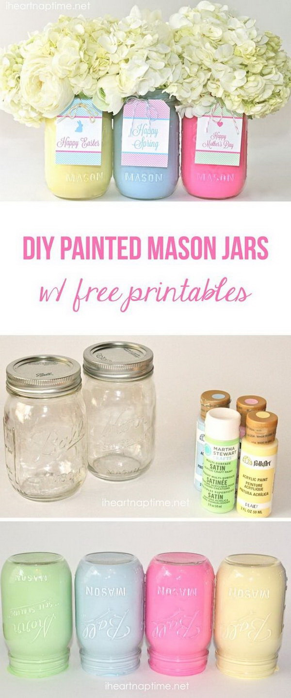 DIY Easter Decoration Ideas: DIY Spring or Easter Mason Jars.