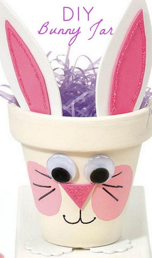 DIY Easter Decoration Ideas: DIY Bunny Pot Easter Decorations.