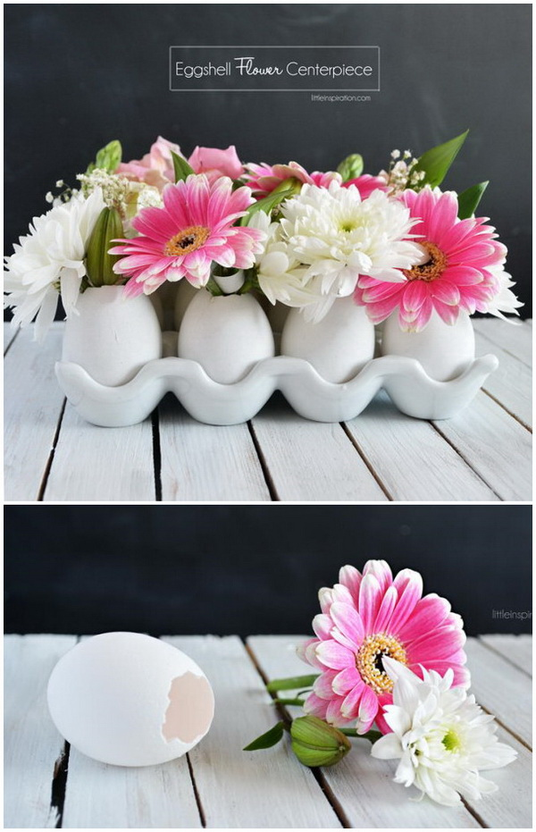 DIY Easter Decoration Ideas: DIY Eggshell Flower Centerpiece.