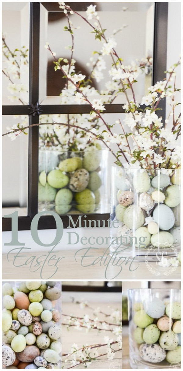 DIY Easter Decoration Ideas: Eggs and Blooming Branches Easter Centerpiece .