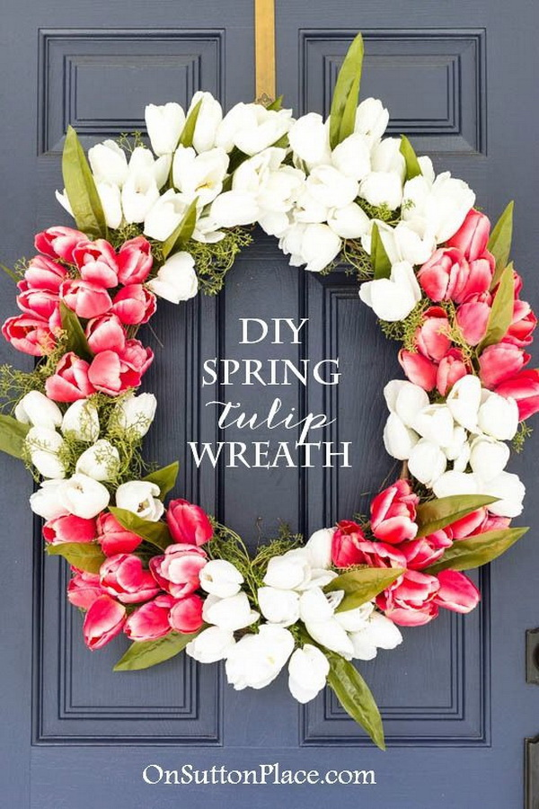 DIY Easter Decoration Ideas: DIY Spring Tulip Wreath.