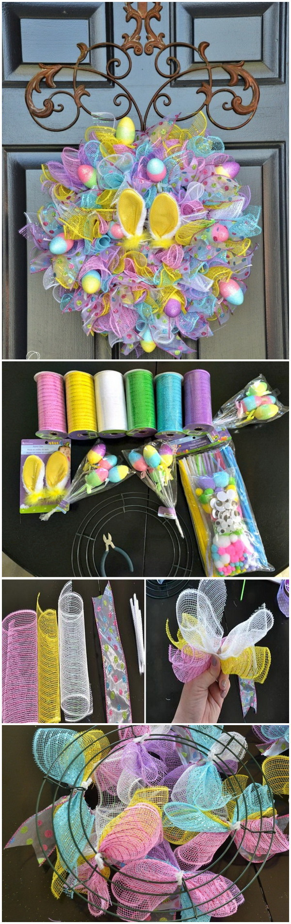 DIY Easter Decoration Ideas: Dollar Store Easy Easter Wreath.