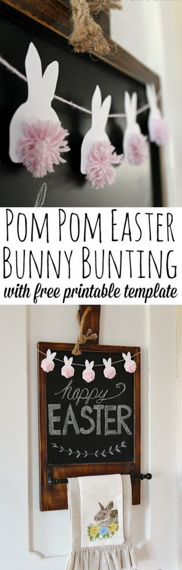 DIY Easter Decoration Ideas: Easter Bunting with Pom Pom Bunnies.