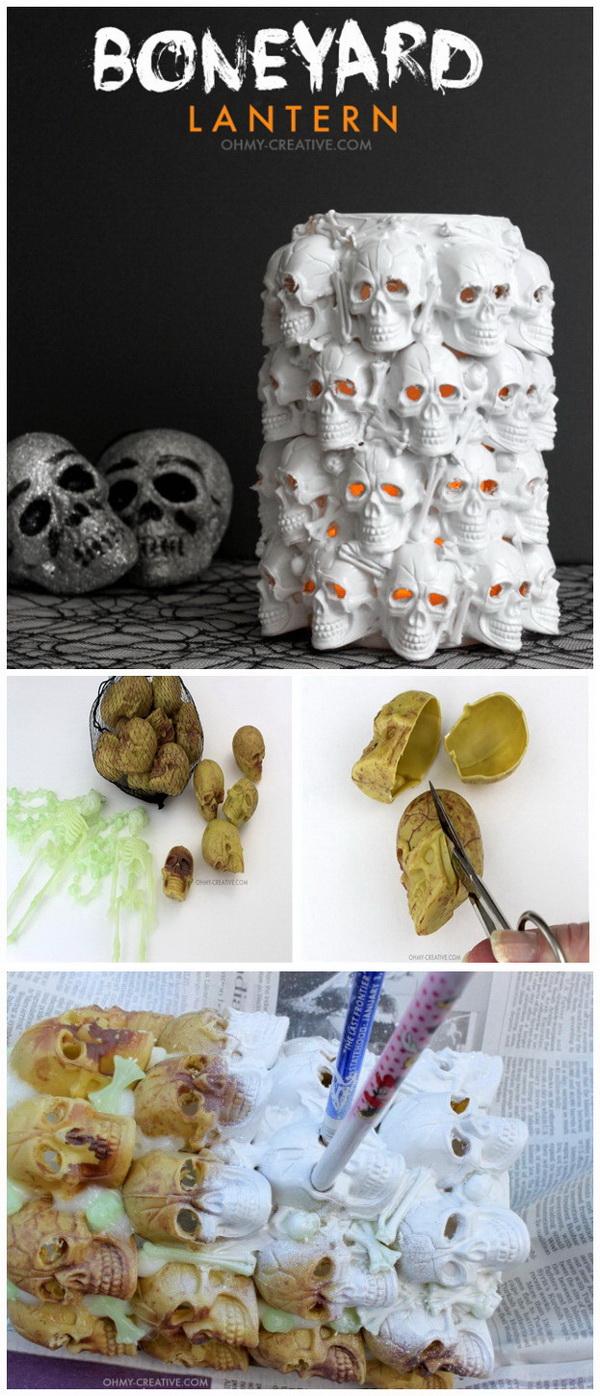 DIY Halloween Decorating Projects: DIY Boneyard Lantern for Halloween.