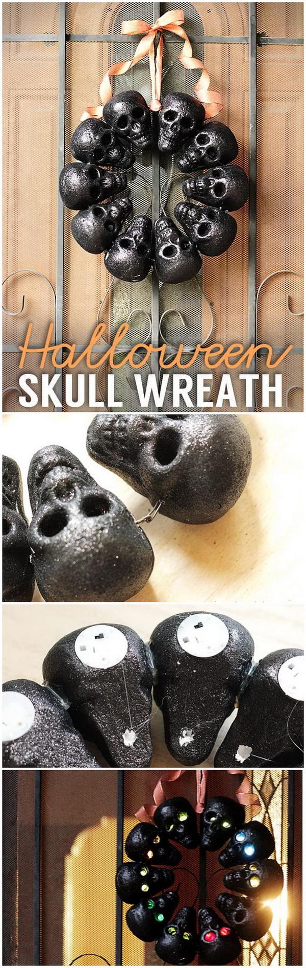 DIY Halloween Decorating Projects: Halloween Skull Wreath.