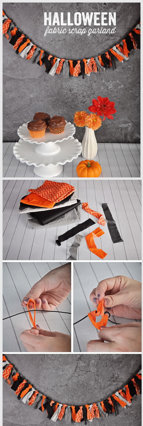 DIY Halloween Decorating Projects: DIY Halloween Fabric Scrap Garland.