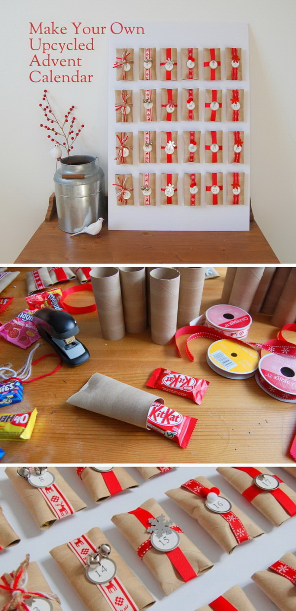 DIY Upcycled Toilet Paper Roll Advent Calendar.