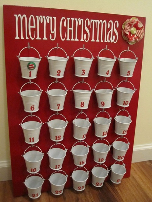 Dollar Store Buckets Advent Calendar.
