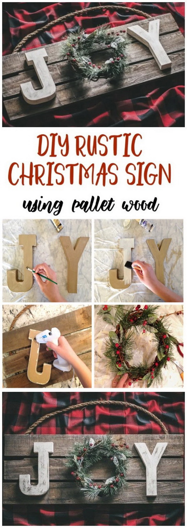 DIY Rustic Christmas Joy Sign Using Pallet Wood.