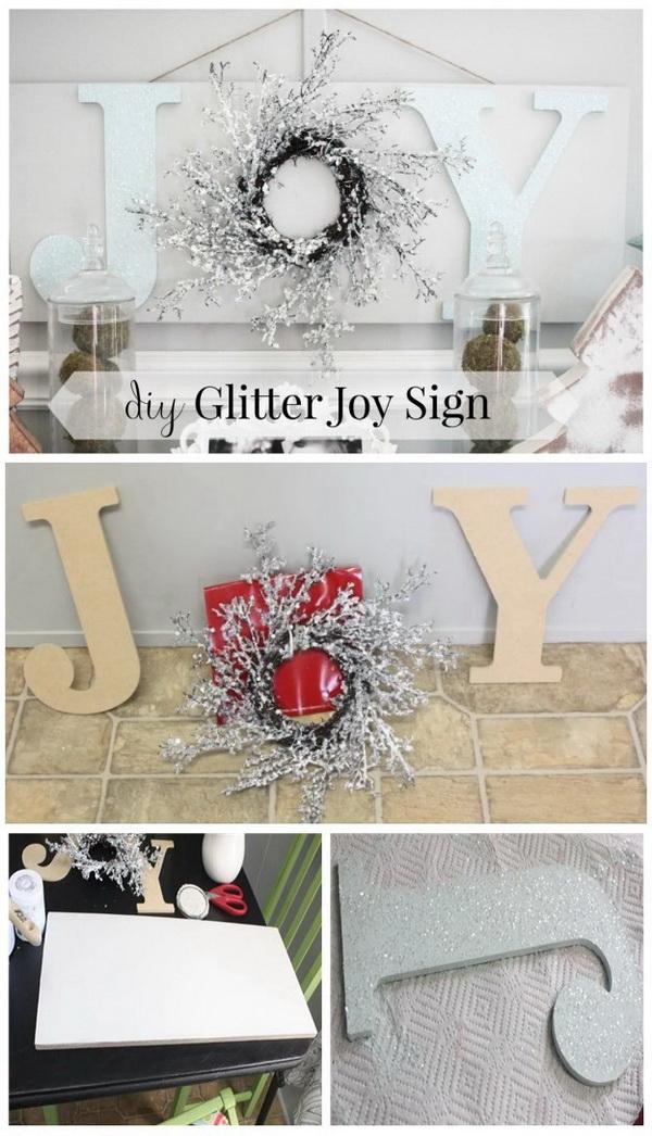 DIY Wooden Christmas JOY Sign.