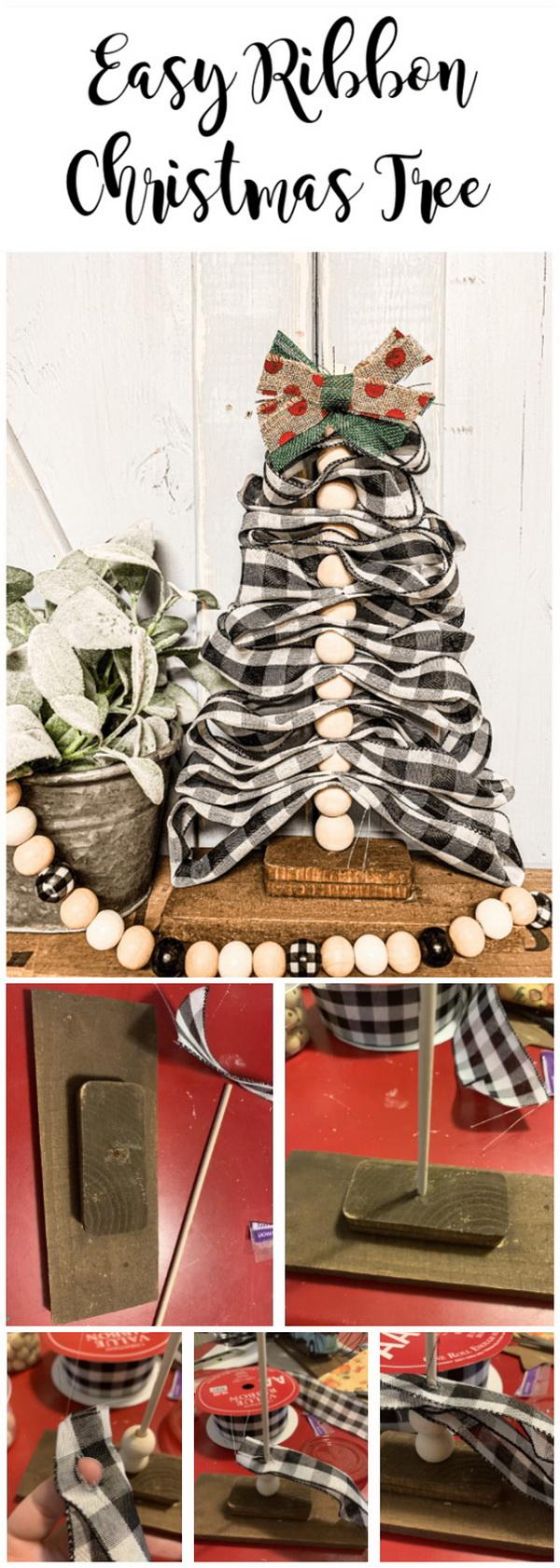 DIY Burlap Ribbon Christmas Tree.