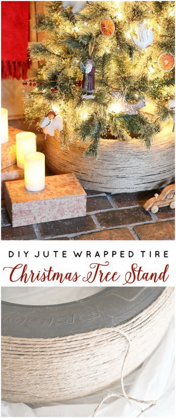 DIY Jute Wrapped Tire Christmas Tree Stand.