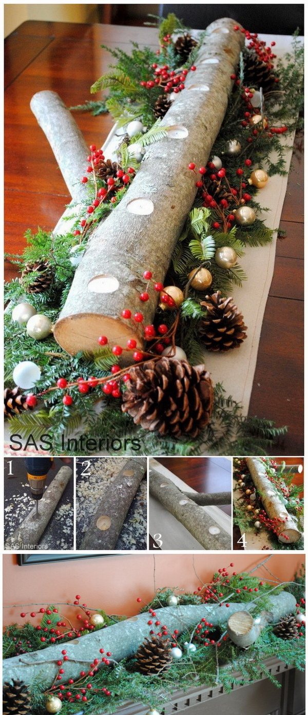 DIY Log Candle Holder Centerpiece For Mantal.