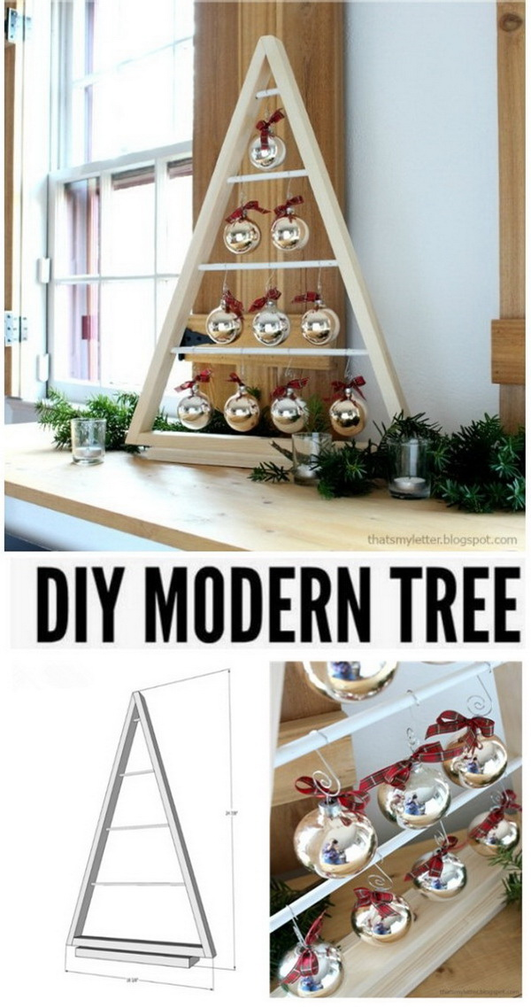 DIY Modern Christmas Tree With Ornaments.