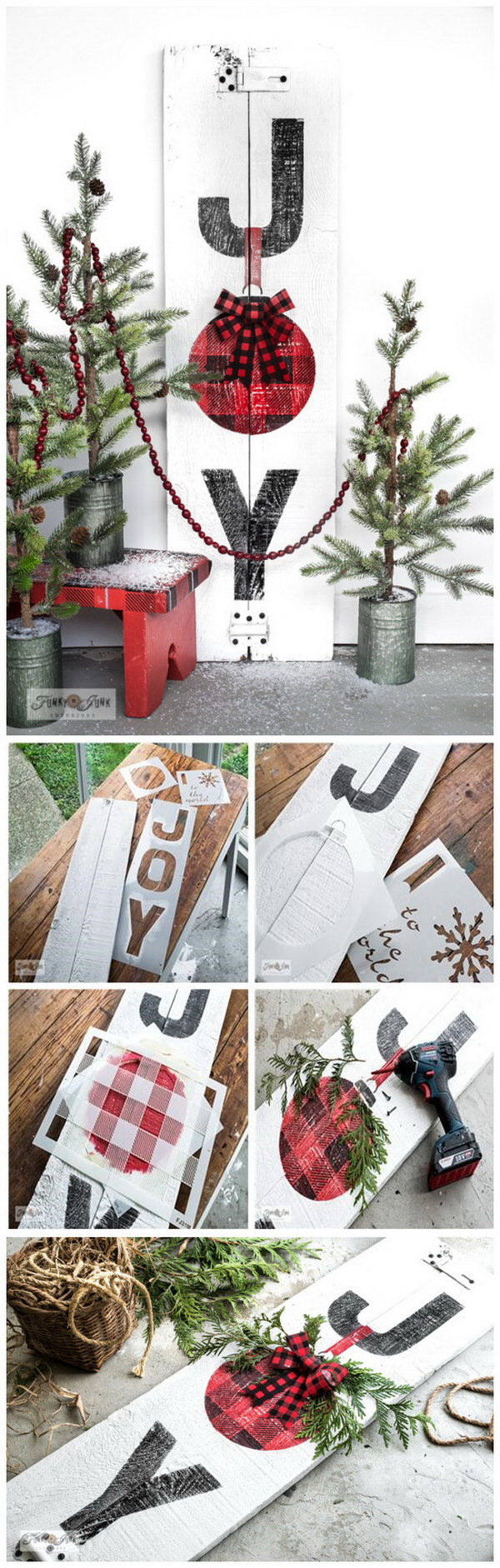 Joy Buffalo Check Christmas sign.
