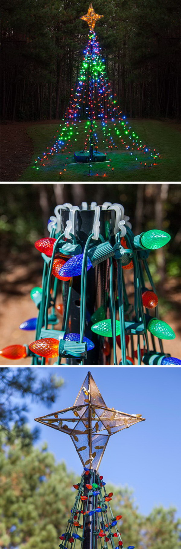 DIY Tree Of Lights Using A Basketball Pole.