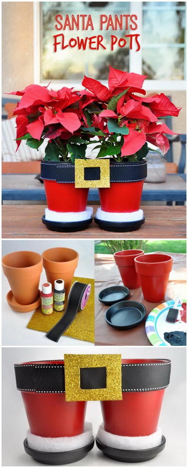 Santa Pants Flower Pots.
