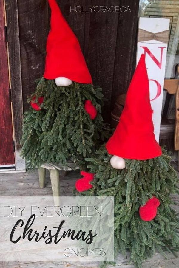 DIY Evergreen Christmas Gnomes.