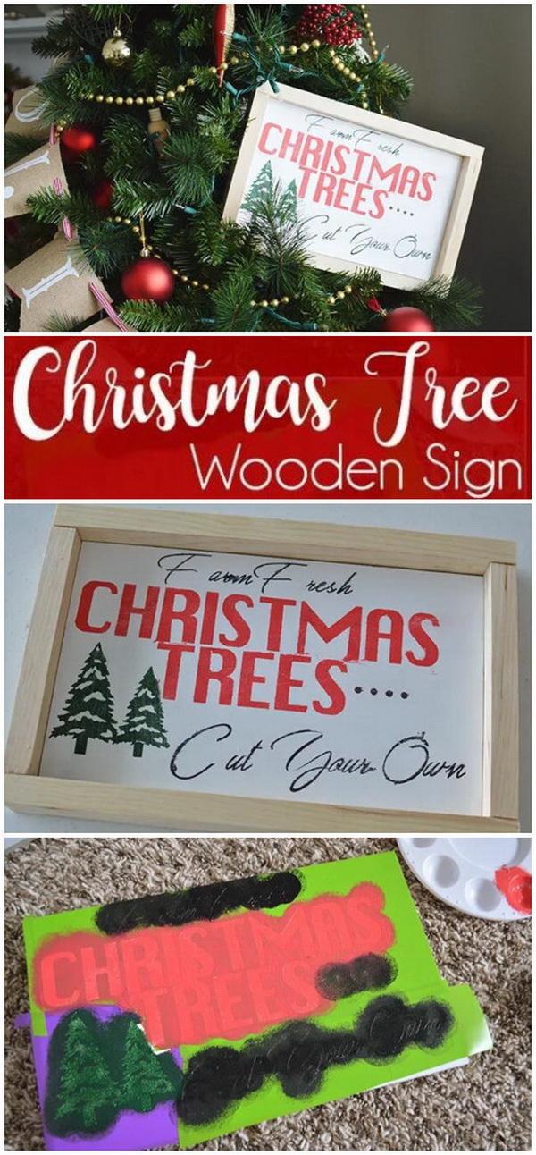 DIY Wooden Christmas Tree Sign.