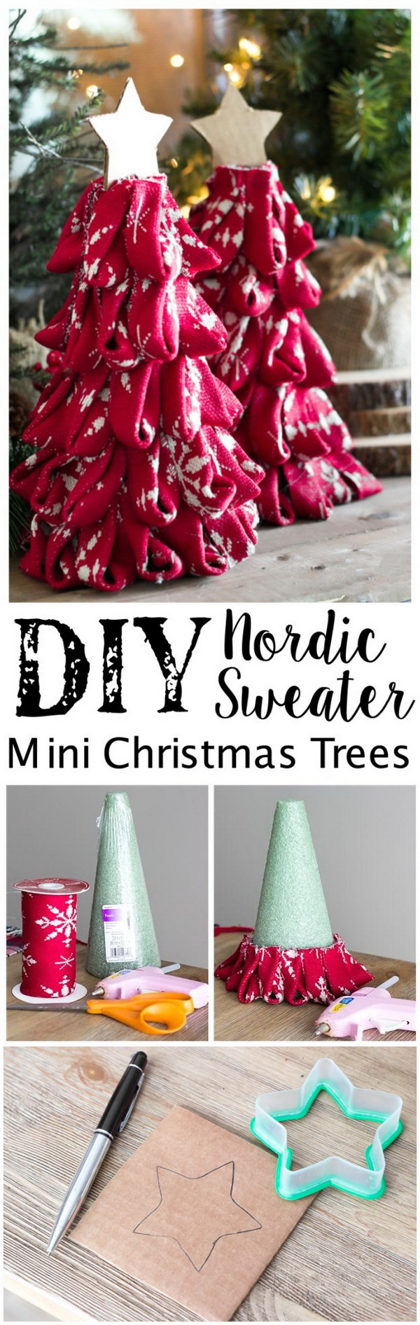 DIY Mini Christmas Trees Made with Nordic Sweater.