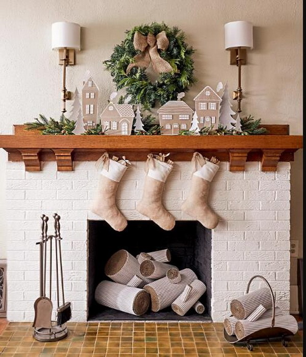 DIY Christmas Village Mantel.
