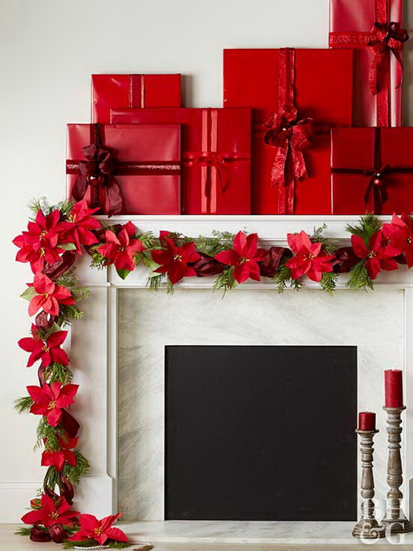 Festive Mantel Decoration with Classic Red.