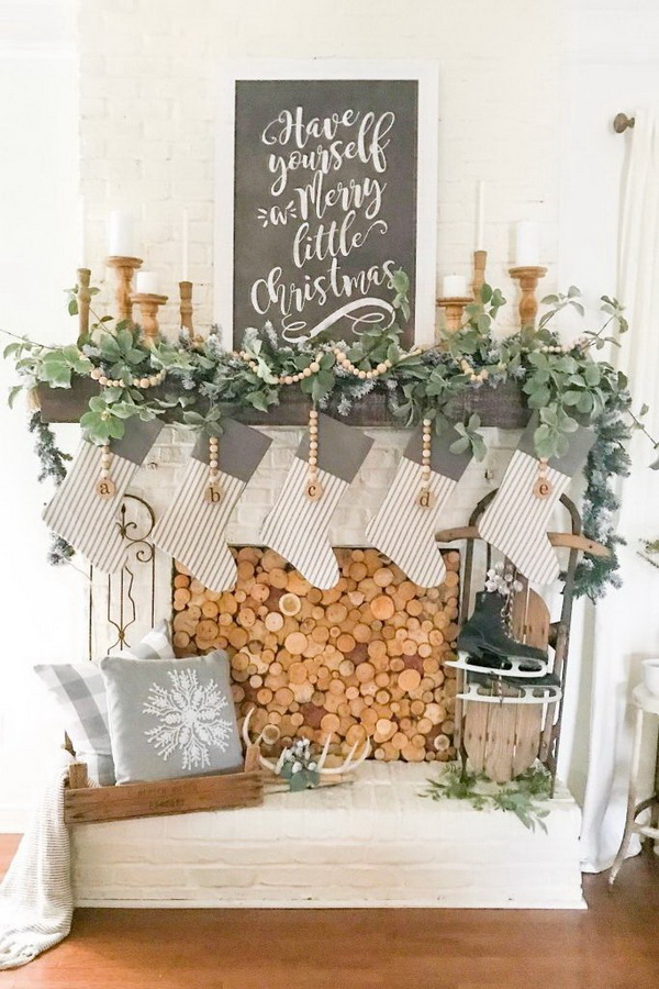 Wood Slice Fireplace Cover DIY and Christmas Mantel.