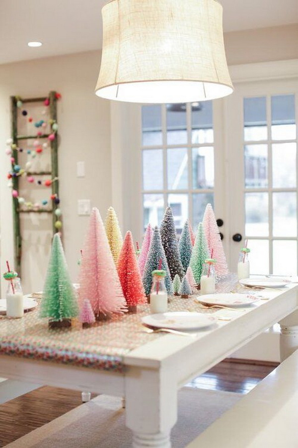 Whimsical Christmas Tablescapes & Centerpieces with Colorful Bottle Brush Trees.