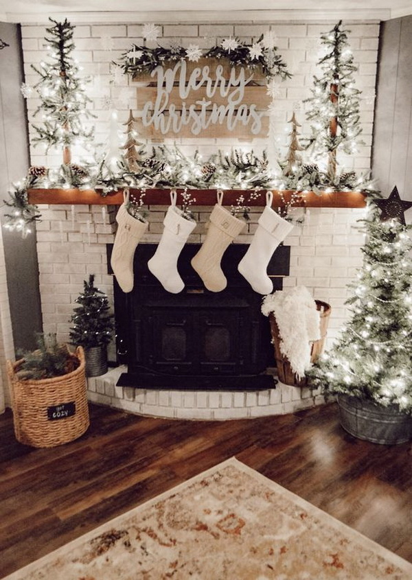 35+ Festive Christmas Mantel Decoration Ideas. How to Style a Holiday Mantel Fireplace and Give Santa a Warm Welcome.