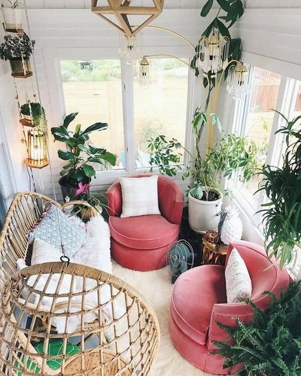 Scandinavian bohemian balcony for relexing.