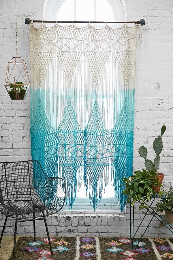 DIY bohemian tassel curtains.