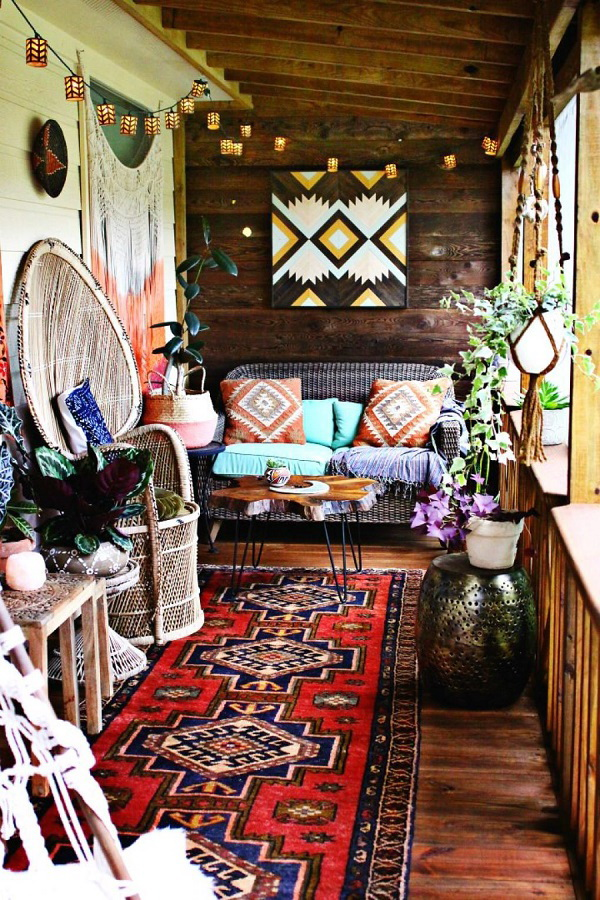 Colorful bohemian living room.