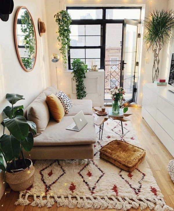 Plant-filled bohemian style apartment.