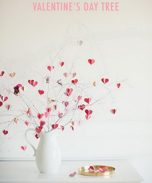 DIY Valentine's Day Branch Tree.