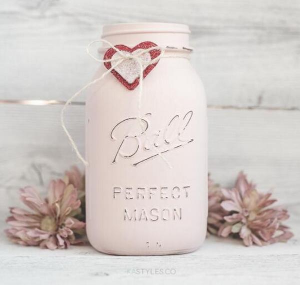 Latex Painted Valentine's Day Mason Jars.