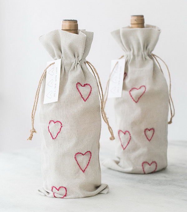 DIY Valentine's Day Embroidery Wine Bags.