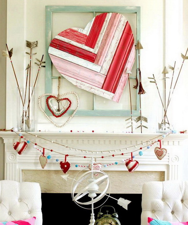 Valentine Mantel With Heart Art And Arrows.