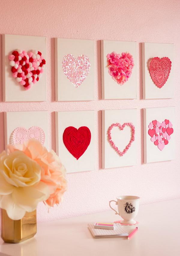 Valentine's Day DIY Canvas Heart Art.